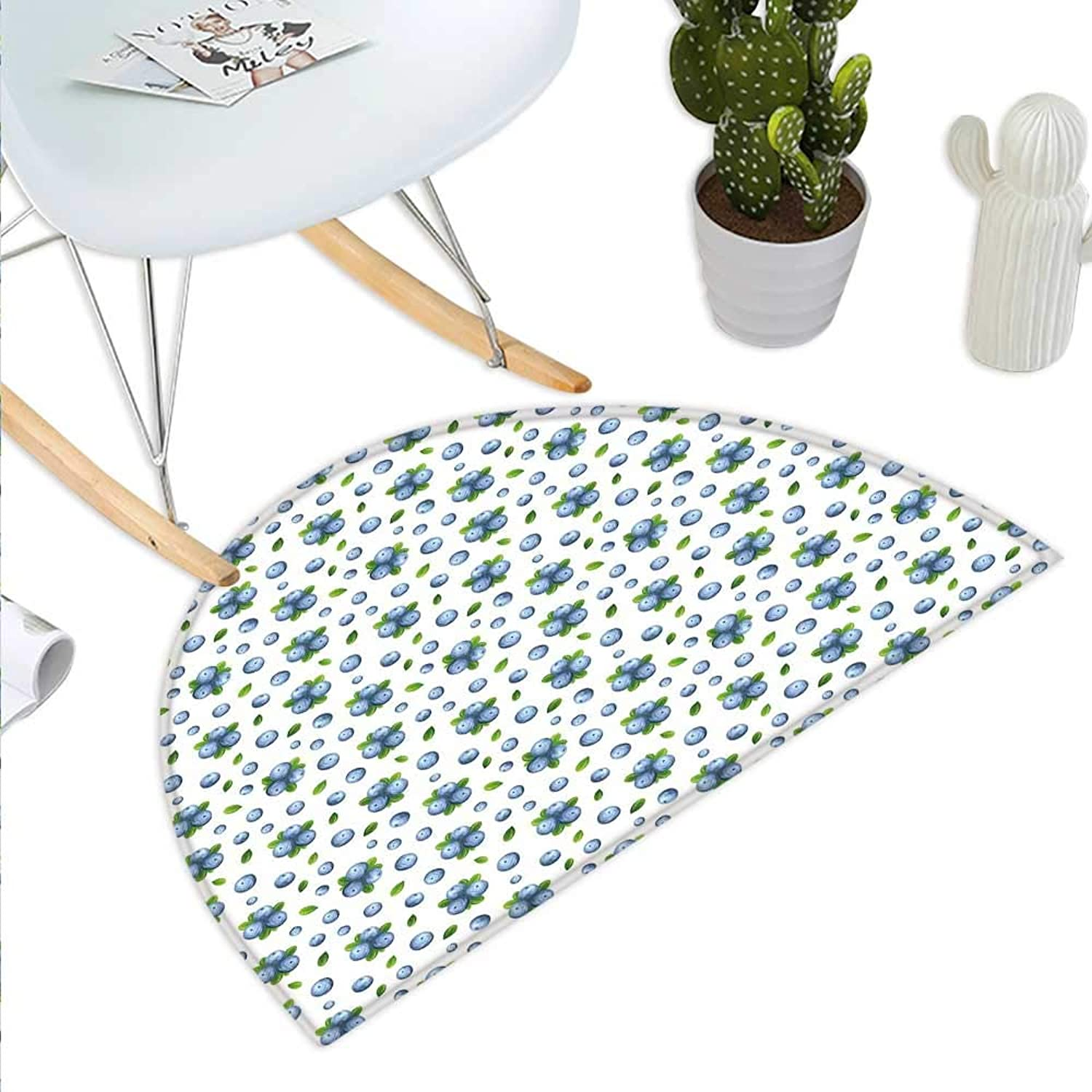 Kitchen Wall Semicircle Doormat Fresh blueeberries Ripe Juicy Fruits Summer Organics Food Painting Style Halfmoon doormats H 47.2  xD 70.8  bluee Green White