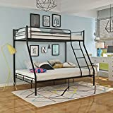 Panana Triple 3 Sleeper Metal Bunk Bed Top Single Bed Bottom Double Bed for Children Kids Bedroom (Black)