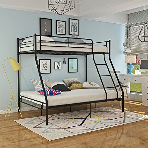 Panana Triple Sleepers Metal Bunk Bed Frame Top 3FT Single Bottom 4FT6 Double Bed Bedroom Dorm Apartment Furniture for Adults Twins Teenagers Children (Black)