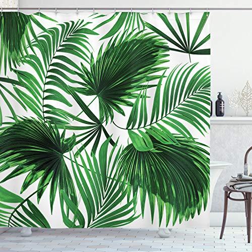 ABAKUHAUS Palmblatt Duschvorhang, Vivid Blätter Wachstum, Personenspezifisch Druck inkl.12 Haken Farbfest Dekorative mit Klaren Farben, 175 x 200 cm, Farn Grün Weiß