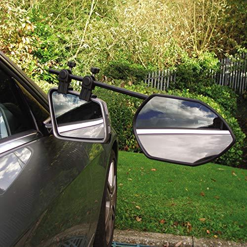 2 x Universal Anhängerspiegel Wohnmobil Wohnwagenspiegel Caravanspiegel Aufsetzspiegel Pkw Aufsteckspiegel Zusatzspiegel Camping Zubehör Set Aufbewahrungstasche Konvex Spiegel Verlängerung Schwarz