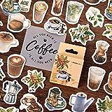 Relax Coffee Caffe Style Sticker Pack   Espresso   Americano   Iced Cappuccino   Caramel Macchiato   Latte Coffee Cute Paper Decals for Scrapbook Personal Decor (Vintage Coffee Time 92Pcs)