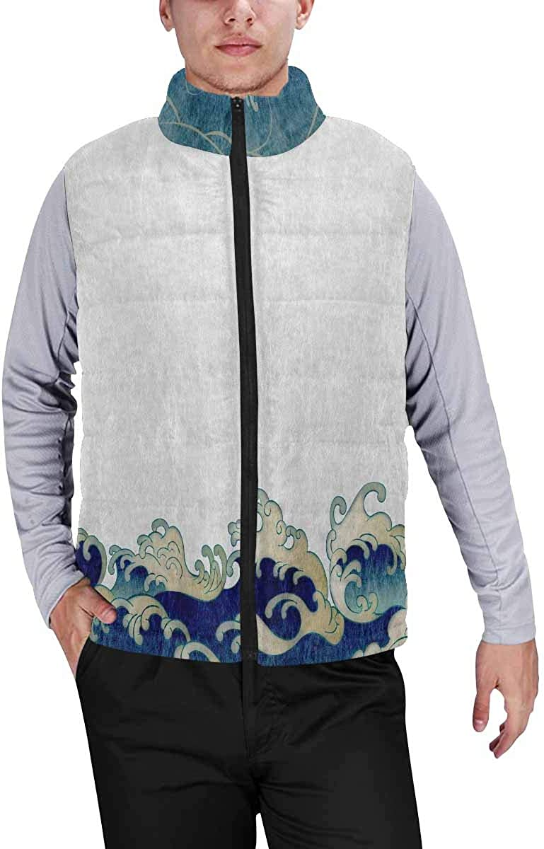 InterestPrint Warm Outdoor Sleeveless Stand Collar Vest for Men Japanese Style Background XXL