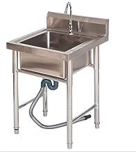 Commerciële roestvrijstalen spoelbak met enkele tank, Een dubbele wastafel met een standaard in een huishoudelijke keuken,...