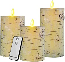 Flameless LED Candles,Yinuo Candle Flickering Birch Unscented Pillar 100 Hours Moving Flame 4