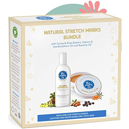 The Moms Co All Natural, Complete Care Solution for Stretch Marks with 7 in 1 Natural Stretch Bio Oil (100ml) and Natural Body Butter (100g)