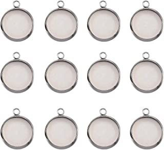 ABBECIAO Stainless Steel Bezel Pendant Trays Round Cabochon Settings Trays Pendant Blanks 12mm 50PCS