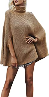 OSTELY Fashion Women's Sweaters Solid Turtleneck Cape Shawl Knitted Jumper Half Sleeve Loose Pullover Tops