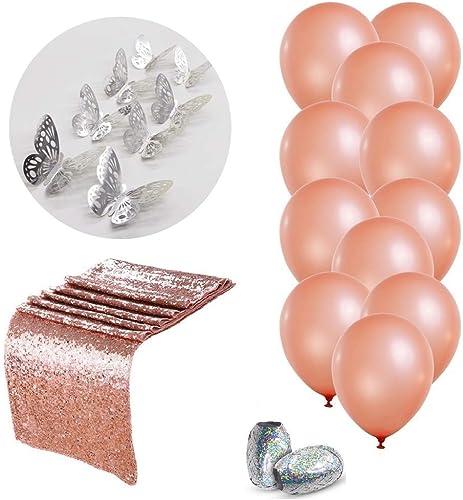 Cérès Rosa Gold Party Dekorationen & Bridal Dusche Dekorationen, Rosa Gold Latex Luftballons Partydekoration Balloons+Table Runner Rosa Gold