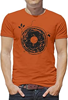 Boy Creative Tees Enchanting Vinyl Records Vintage Crew Neck Tees for Adult