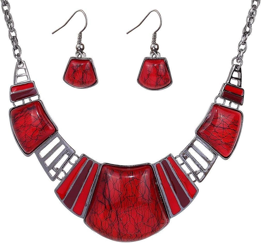 YAZILIND Vintage Ethnic Tibetan Sliver Turquoise Bib Collar Earrings Necklace Jewelry Set Women Gift