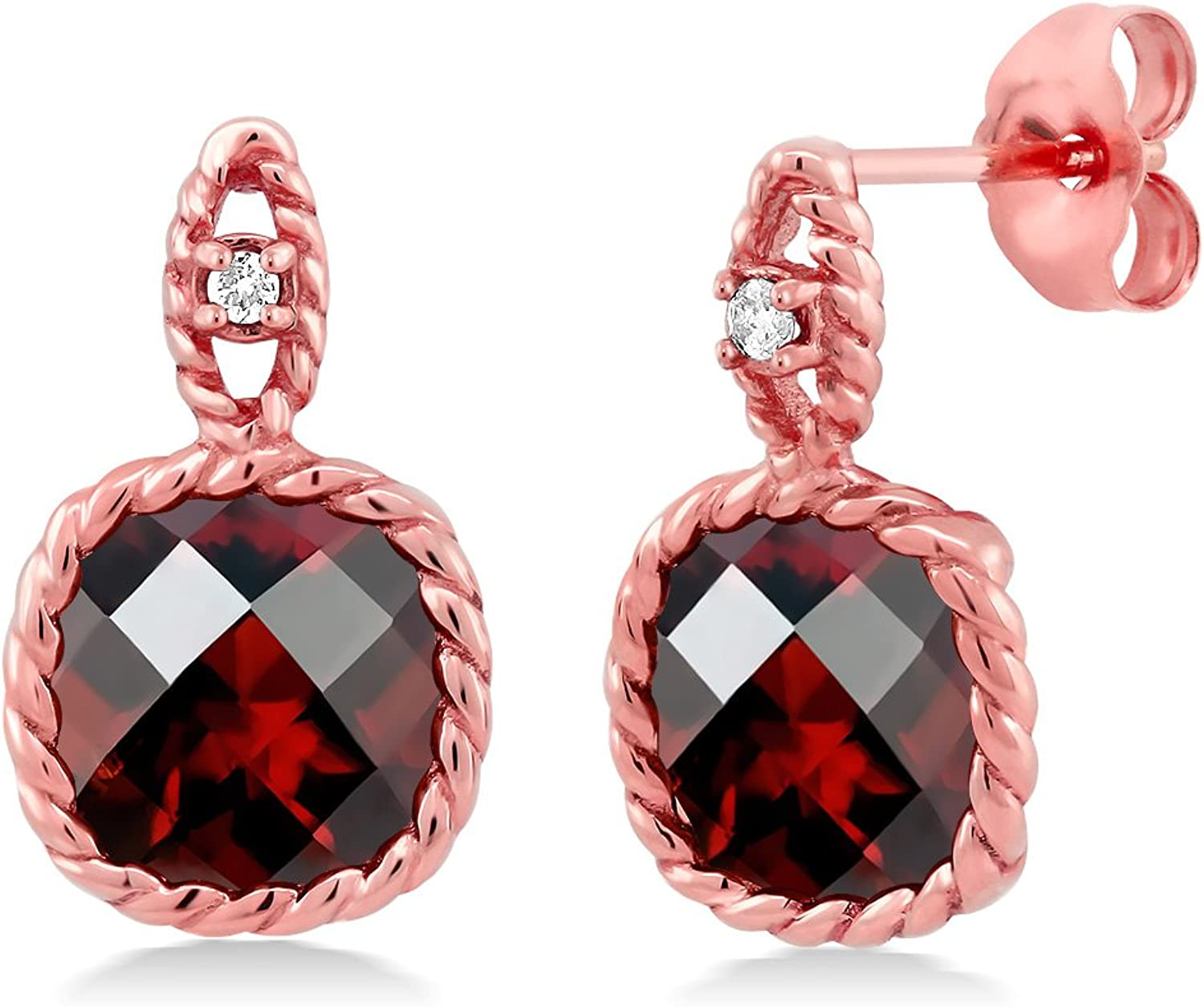 10K pink gold 4.80 Ct 8mm Cushion Checkerboard Garnet & Diamond Cable Earrings