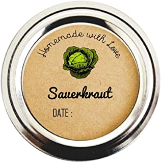 Sauerkraut Canning Labels, Pickling Supplies, Pickling Jar Stickers, by Once Upon Supplies, 2 Inches, 40 Labels