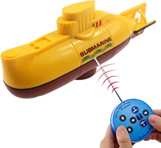 Tipmant Mini RC Submarine Toy Radio Remote Control Boat Electric Dive Water Tube Fish Tank Kids Birthday Gift (Yellow)