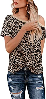 Gopeak 🍎 Women Shirts Leopard Printed Cute Short Sleeve T-Shirts One Shoulder Soft Blouse Casual Summer Basic Tops