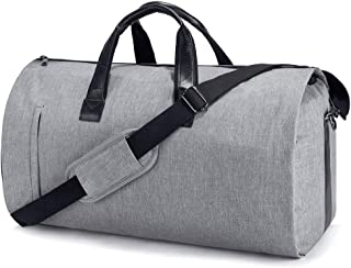 Suit Travel Bag Carry On Garment Bag with Shoes Compartment Duffle Bag Weekend Bag Flight Bag for Travel & Business Trips With Shoulder Strap, Grey