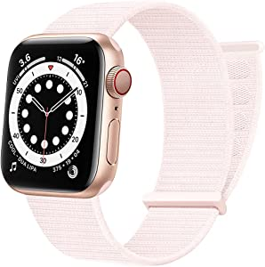 AdMaster Sport Nylon Velcro Band Compatible with Apple Watch 38mm 40mm 41mm, Adjustable Breathable Woven Men Women Braided Strap Compatible for iWatch Series 7/6/5/4/3/2/1 SE 38/40/41mm Pearl Pink
