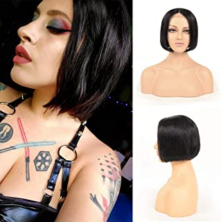 4X4 Lace Closure Short Bob Wigs Silky Straight Human Hair Wigs Cap(22.5
