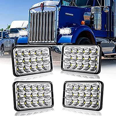 DOT Approved 4x6 Led Headlights 4pcs 45W LED Headlights Rectangular Replacement H4651 H4652 H4656 H6545 Compatible with Headlamp Peterbilt KW Kenworth Freightliner Ford Chevy Oldsmobile Cutlass