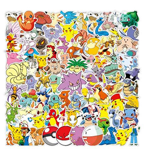 WayOuter Pokemon Sticker Aufkleber, 100 Stücke Anime Stickers einzigartige Kühle Aufkleber Kind Teenager Notebook Gitarre Skateboard Reise Aufkleber Wasserdicht