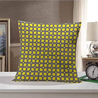 Modern Decor Home Decorative Throw Pillows Case Geometric Image Squares and Borders Contemporary Minimalist Art Pattern Pillow Cover for Sofa Chair 16 x 16 Inch Yellow and Charcoal Grey