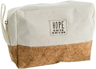 Hope ~ The More We Do Cork & Canvas Zipper Travel Makeup Pouch Bag (Ivory)