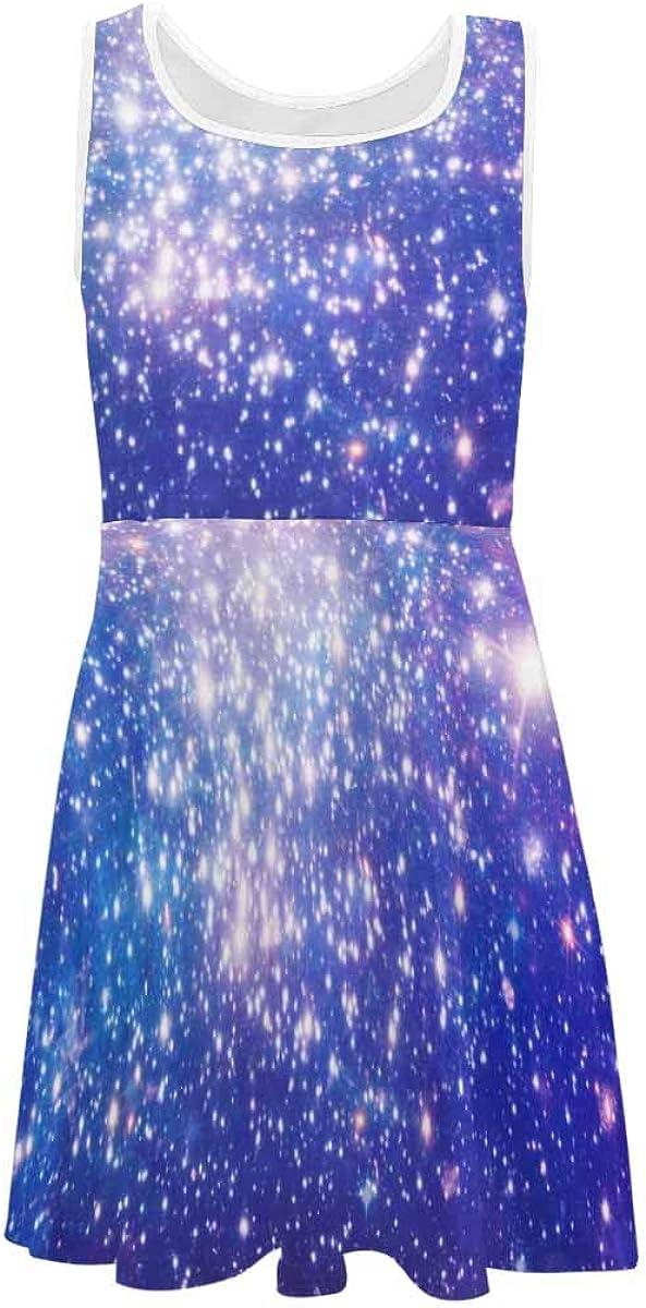 INTERESTPRINT Girls Summer Sleeveless Dress Casual Party Dress Planet and Galaxy (2T-XL)
