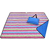 Roebury Beach Blanket Sand Proof & Outdoor Picnic Blanket - Water Resistant, Large Mat for Camping or Travel. Washable, Foldable, Easy Carry Compact Tote Bag (Wave Design)