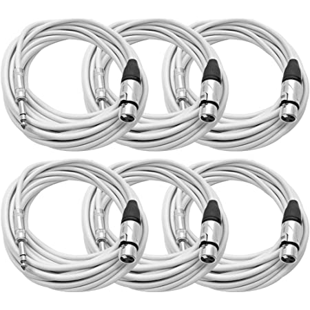 6 Pack of 25 Foot White XLR Male to 1//4 Inch TRS Patch Cables Seismic Audio SATRXL-M25White-6Pack 25 Professional Audio Balanced XLR-F to 1//4 Patch Cords