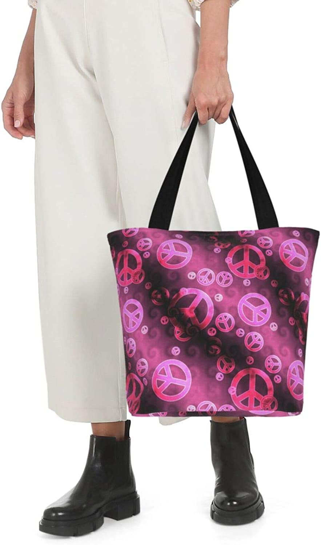 Pink Peace Sign Themed Printed Women Canvas Handbag Zipper Shoulder Bag Work Booksbag Tote Purse Leisure Hobo Bag For Shopping