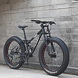 XHCP Bicicletas de montaña de 26 Pulgadas, Bicicleta de montaña para niños Adultos, Fat Tire Fat Bike, Bicicleta de Freno de Doble Disco, Cuadro de Acero de Alto Carbono, Bicicletas antideslizant