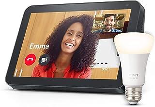 Echo Show 8, Tessuto antracite + Philips Hue White Lampadina Connessa (E27), compatibile con Alexa