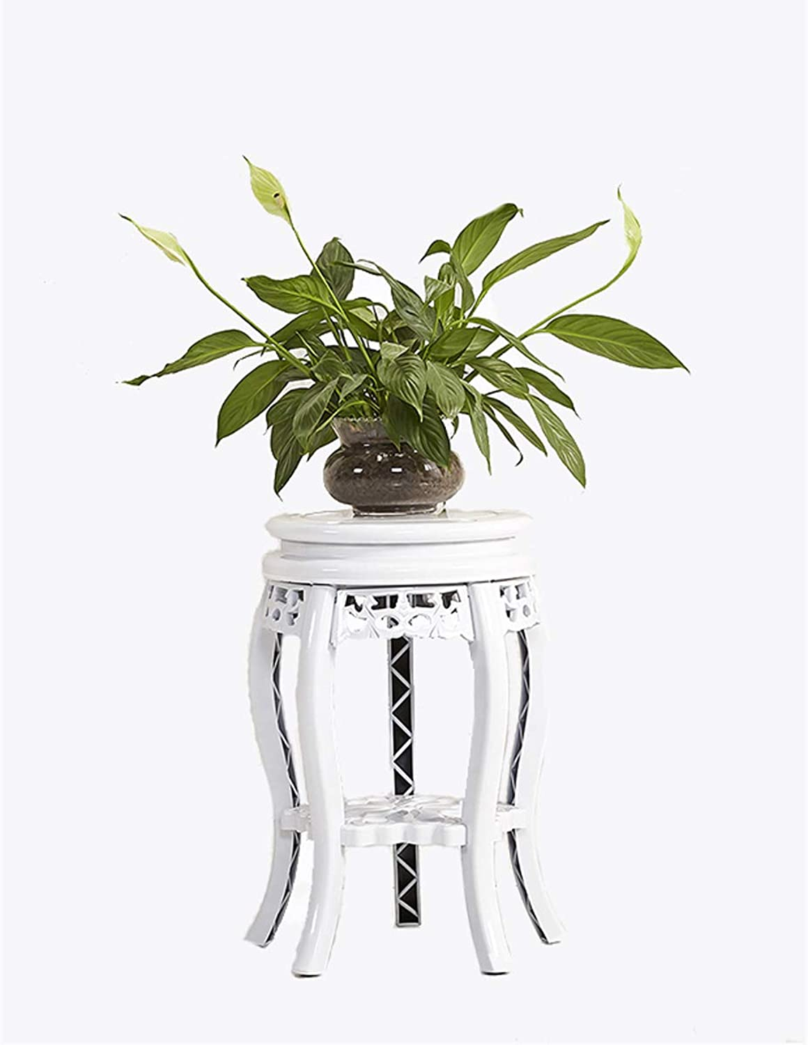 Plant Frame European Iron Flower Pot Holder Flower Stand Outdoor and Indoor Plant Display Stand (White) (Size   22cmX30cmX49cm)