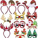 SIQUK 6 Piezas Diadema Navideña y 6 piezas de Gafas de Navidad para Disfraz de Reno Divertido Diadema Árbol de Navidad Anteojos para Fiestas y Decoraciones Navideñas