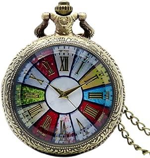 Bronze Colorful Dial Rome Number Quartz Pocket Watch Necklace Pendant