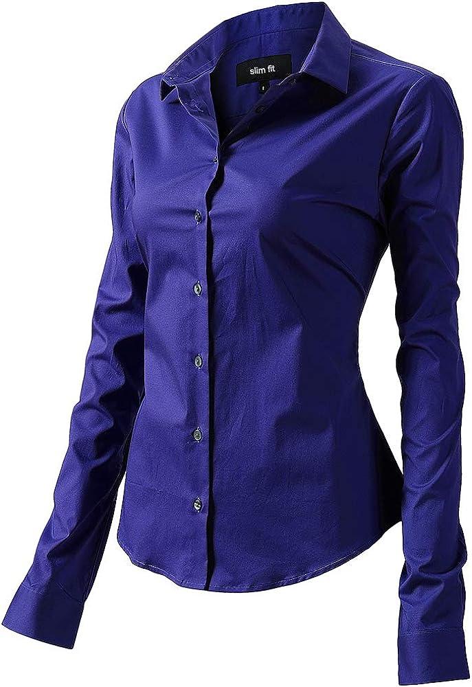Fly hawk camicia da donna a maniche lunghe 97% cotone 3% poliestere camicetta casual blu1