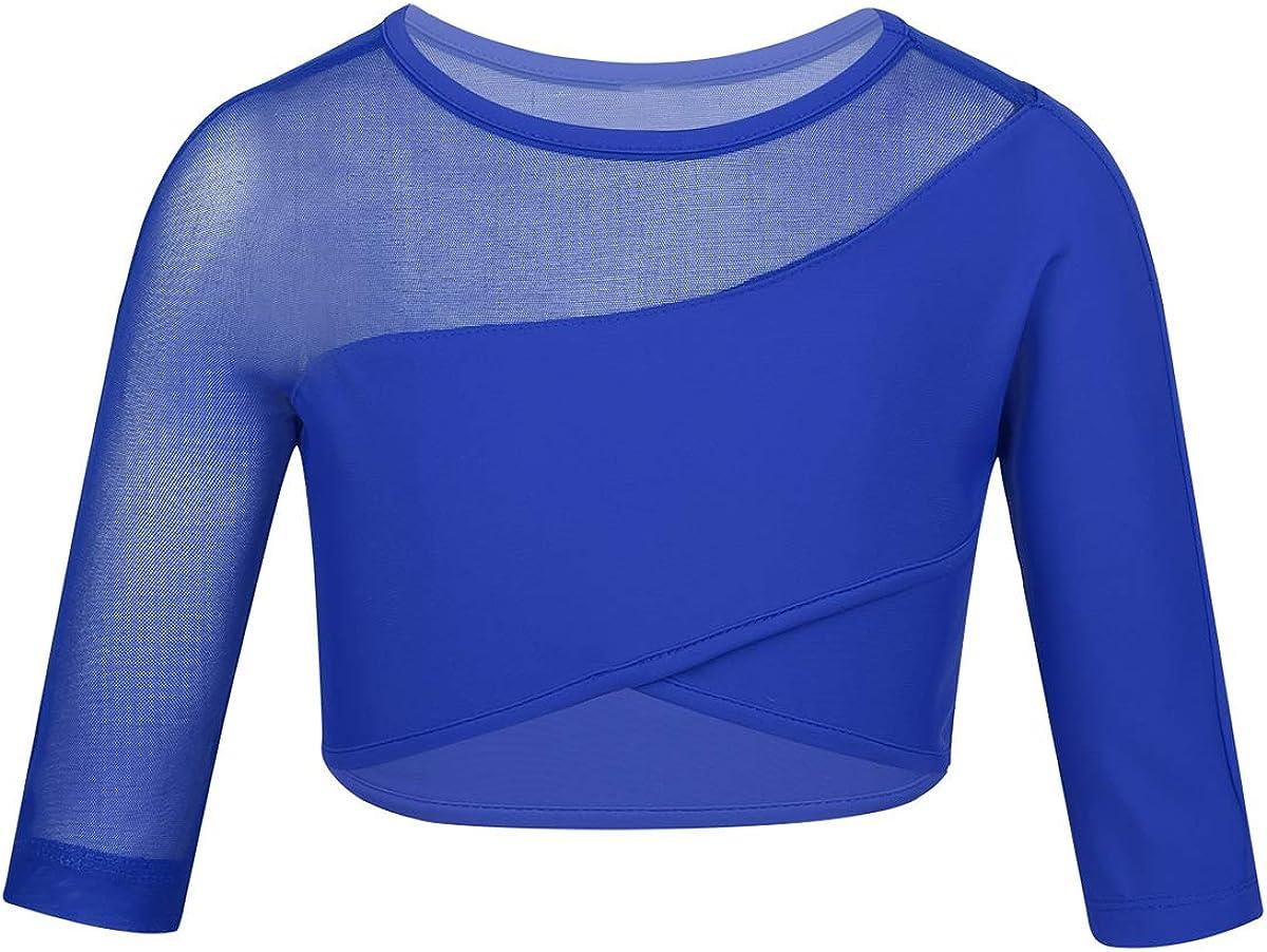 inlzdz Kinder M/ädchen Athletic Mesh Splice T-Shirt Crop Top f/ür Gymnastik Workout Sport Ballett Tanz Performance Kost/üm Outfit