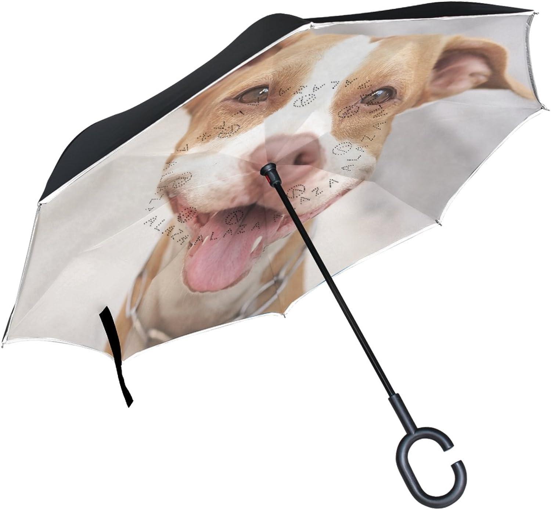 ALAZA Pitbull Dog Alway Smile Ingreened Double Layer Windproof Reverse Umbrella