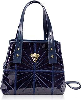 Valentino Orlandi Women's Large Handbag Tote Italian Designer Purse Midnight Blue Genuine Leather Top Handle Satchel Crossbody Bag in Cinched Design with Wavy Embroidery