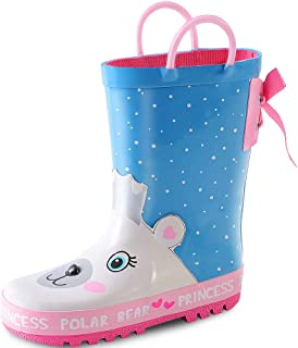 KushyShoo Girls Rain Boots Fun Printed Rubber Boot with Easy-On Handles for Toddler/Little Big Kids