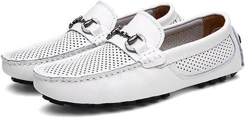JIALUN-Schuhe Herren Classic Driving Loafers Hohl Vamp Penny Stiefelschuhe Weißhe Sohle Freizeit Mokassins (Farbe   Weiß, Größe   42 EU)