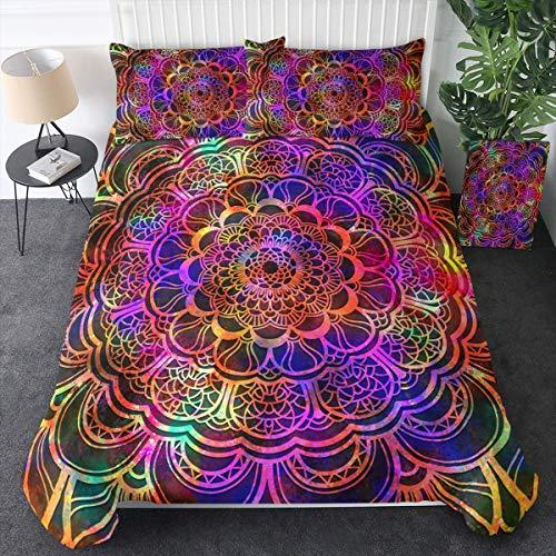 Dear Diary Store Juego de funda de edredón, diseño de mandala, diseño de galaxia, estilo bohemio, hippie, color morado y rosa