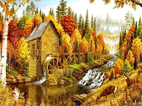 Casa de pintura de diamantes 5D bordado de diamantes hecho a mano paisaje de otoño artista de diamantes de imitación hogar punto de cruz de diamantes de imitación A8 50x70cm