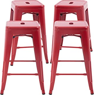 FDW Counter Height Bar Stools Set of 4 Kitchen Counter Stool Indoor Outdoor Stool Patio Furniture Metal Bar Stools 24 Inches Modern Stackable Barstools Dining Chair (Red)