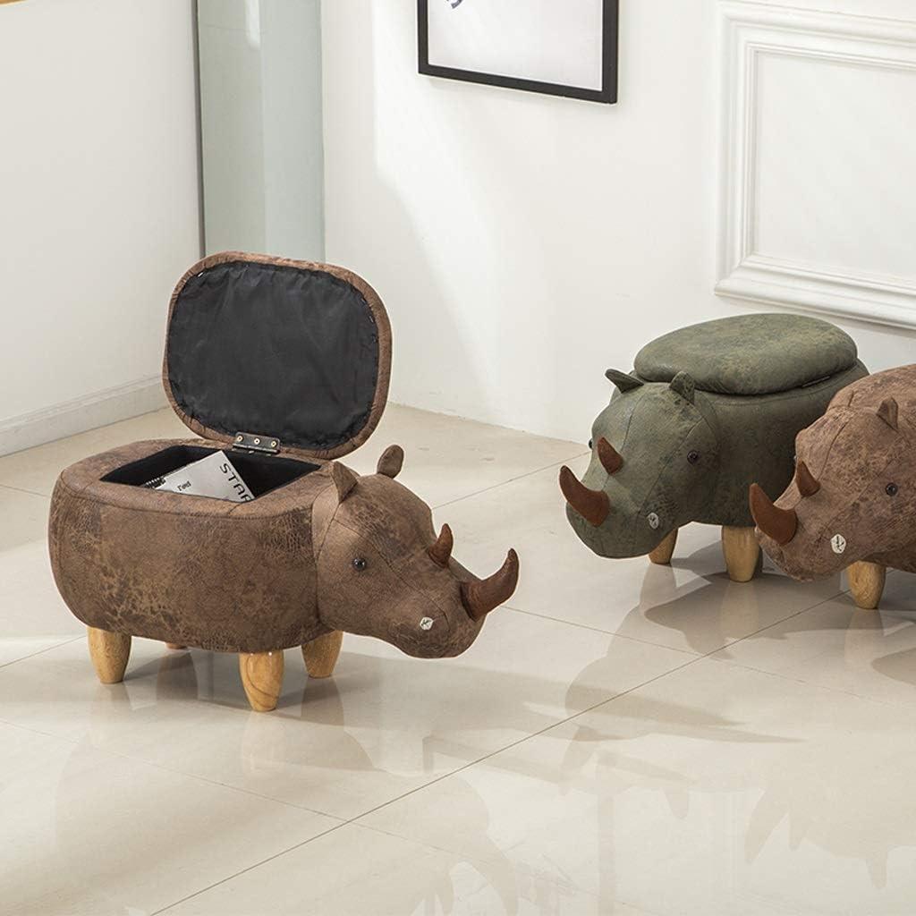 YXDEW Cartoon Rhinocéros Repose-Pieds avec Rangement Fonction Chaussures en Bois Massif Banc Canapé Ottoman Tabouret Salle Change Chaussures Tabouret Chaise (Color : B) A