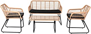 Rope Wicker Outdoor Sofa Setting 4 Seater with Glass Top Coffee Center Table - Black (Black)