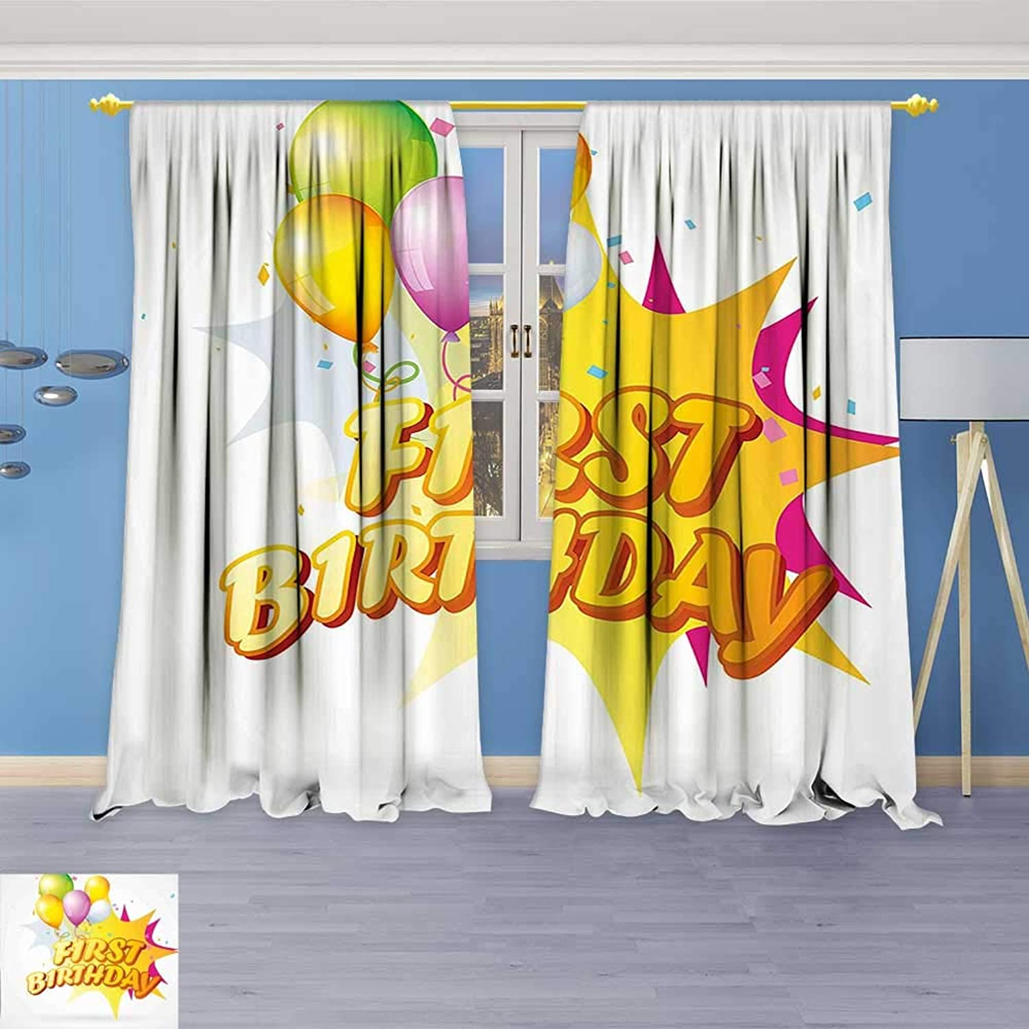 Philiphome Blackout Room Darkening Curtains Decorations Toddler First Party Celebration with Quote and Balloons Yellow and Hot Pink Window Panel Drapes Grommet Top