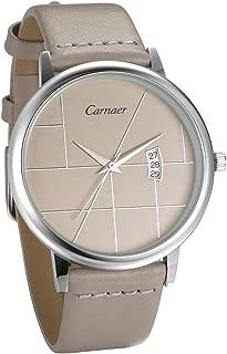 JewelryWe Men Women Watches Luxury Simple Quartz Calendar Watch Genuine Leather Wristwatch Unisex