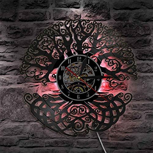 YINU Baum des Lebens Wandkunst Wanduhr Heiliger Baum Vintage Vinyl Schallplatte Longplay Uhr Green Life 3D Silhouette Schatten Wanduhr