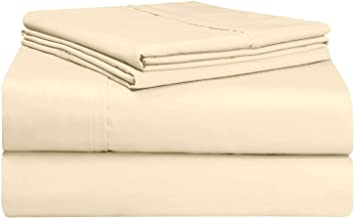 Pizuna 500 Thread Count Single Sheets Set Cream, 100% Long Staple Cotton Hotel Quality Sheets, Ivory Cotton Satin Bed Shee...